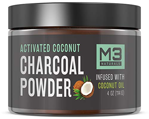 M3 Naturals Activated Charcoal Teeth Whitening Powder Infused with Coconut Oil All Natural Safe Alternative to Toothpaste Strips Kits Gels 2X Competitors 4 OZ