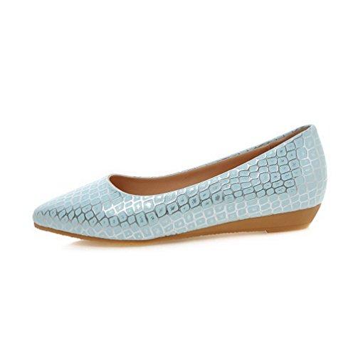 auf VogueZone009 Schuhe Blau Damen Niedriger Kariert Pumps Ziehen PU Leder Absatz Zehe Spitz UUaAnqwrxT
