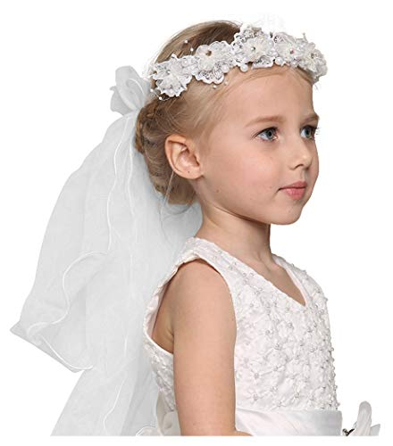 - Bienvenu First Communion Flower Girl Bow Embroidered Wedding Veil Two Layers,White_3