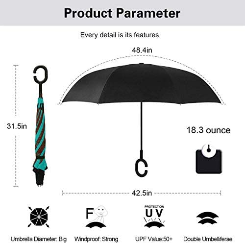 サングラスをかけて男喫煙 ユニセックス二重層防水ストレート傘車逆折りたたみ傘C形ハンドル付き