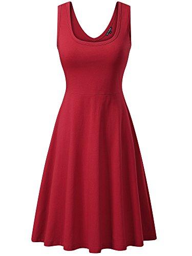 FENSACE Womens Sleeveless Scoop Neck Summer Beach Midi A Line Tank Dress, Red, Small ()