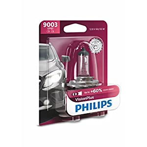 Philips 9003 VisionPlus Upgrade Headlight Bulb, 1 Pack