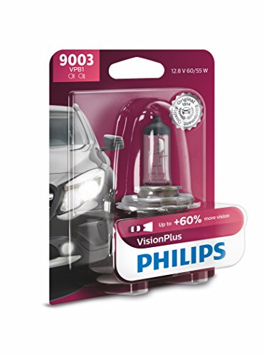 Philips 9003 VisionPlus Upgrade Headlight Bulb with up to 60% More Vision, 1 Pack ()