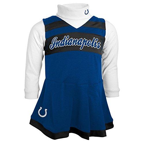 NFL Indianapolis Colts Girls Cheer Jumper Dress with Turtleneck Set, Medium, Speed Blue