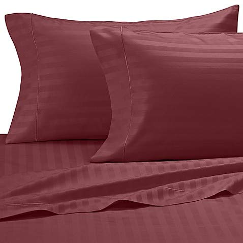 Damask Stripe 500-Thread-Count Cotton Twin Sheet Set in Burgundy