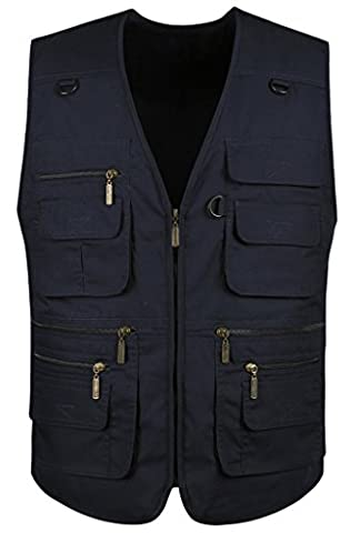 Mrignt Men's Oversize Pockets Hiking Sports Outdoor Vest(US XL (Asia 4XL),Navy blue) - Sports And Outdoors