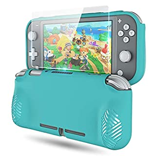Grips Cover for Nintendo Switch Lite,OIVO Ergonomic Protective TPU Case Cover for Nintendo Switch Lite with Shock-Absorption and Anti-Scratch Design-1× HD Glass Screen Protector Included