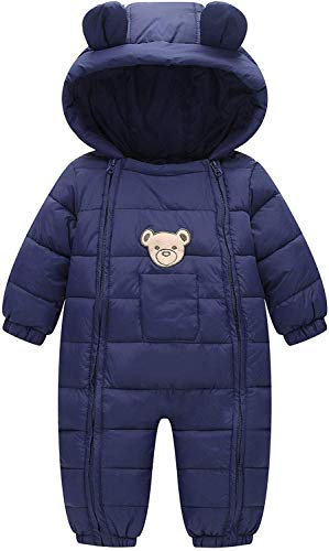 Ohrwurm Baby Boy's Cute Jumpsuit Zip Closure Warm Snowsuit Cotton-Padded Ramper with Bear Hood for 3-9 Month S Baby Kids