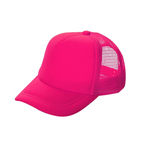 (Opromo Kids Two Tone Mesh Curved Bill Trucker Cap, Adjustable Snapback, 14 Colors-Neon Pink-1 Pieces)