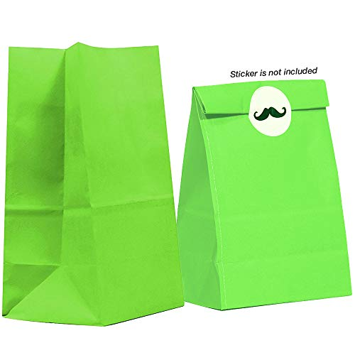 40CT Biodegradable, Food Safe Ink & Paper, Premium Quality Paper (Thicker), Paper Bag, Kraft Paper Sack, Goody Bags, Treat Sacks, Perfect for Party Filled with Small Favors (Small, Lime -