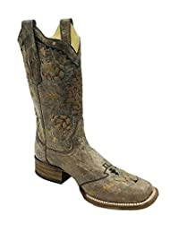 Corral Boot Company Womens Tobacco Laser Woven Cowgirl Boots 8 B Brown