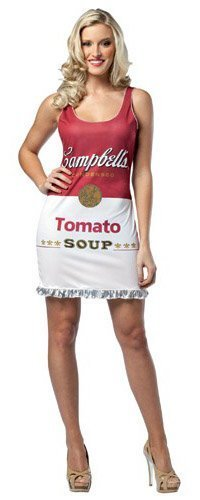 Rasta Imposta Campbell's Tomato Soup Can Tank Dress, Red/White, Adult (Can Can Dress)