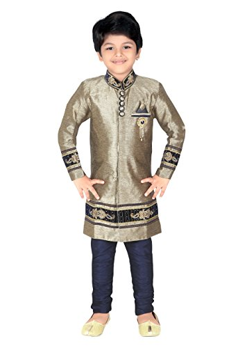 Ahhaaaa Kids Ethnic Baby Indo Western Festive and Party Wear Sherwani and Breeches For Boys