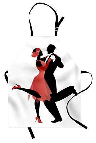 Lunarable Dance Apron, Old American Nightlife Couple in 20s Style Clothes Dancing Charleston, Unisex Kitchen Bib Apron with Adjustable Neck for Cooking Baking Gardening, Dark Coral Black White