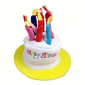 SkangoTM 2pcs Happy Birthday Party Cake Hat Candles Plush Rainbow Novelty Gift Fancy