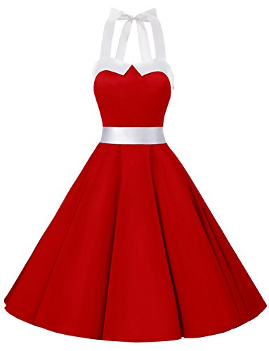 4feeb7a122a Galleon - Dressystar Vintage Polka Dot Retro Cocktail Prom Dresses 50 s  60 s Rockabilly Bandage Solid Red M