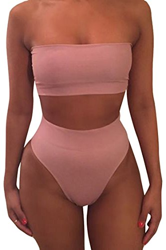 Pink Queen Women's Removable Strap Pad Thong Bikini Set Wrap Swimsuit Pink1 M