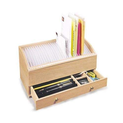 Natural Wood Space Saver Letter and Bill Organizer with Compartments Drawer and 31 Slots -