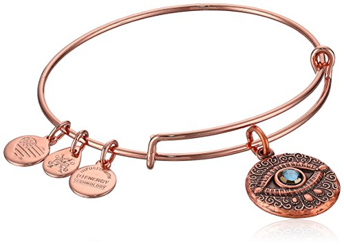 (Alex and Ani Women's Evil Eye Rose Gold Charm Bangle Bracelet, Expandable)
