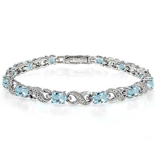 Sterling Silver Blue Topaz Infinity Tennis Bracelet - Genuine Blue Topaz Link Bracelet