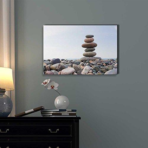 Zen Stones Balance Pebbles Stack Over Blue Sea Wall Decor