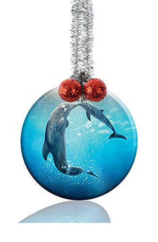 (GDEE Custom Dolphin Tale Personalized Round Porcelain Ornaments Christmas Ornaments Home Decoration)