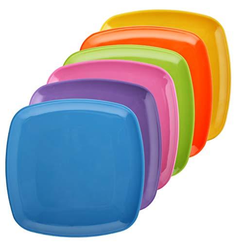 (Melange 6-Piece 100% Melamine Square Salad Plate Set (Squares Solid) | Shatter-Proof and Chip-Resistant Melamine Square Salad Plates | Multi-Color)