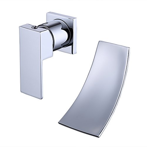 KES Wall Mount Bathroom Faucet Waterfall Lavatory Sink Faucet Single Handle Lead-Free BRASS Body and Stainless Steel Extra Wide Fallingwater Spout, L3200