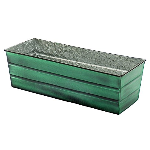 Achla Designs Galvanized Window Flower Box Planter-Green-Medium (24