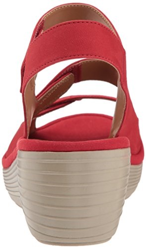 Clarks Women's Reedly Juno Wedge Sandal, Black Red Nubuck