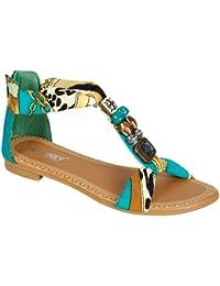 GIGI 92 Gladiator Tribal Decorated Flat Sandals Turquoise