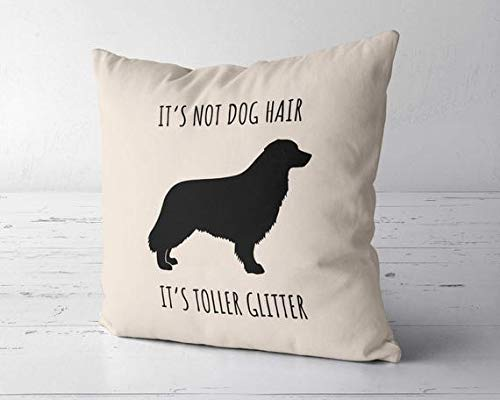 ChristBess It's Not Dog Hair It's Toller Glitter Pillow Case, Nova Scotia Duck Tolling Retriever Lover Gift, Toller Mom Gift, Toller Decor, Toller Gift