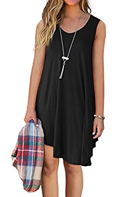QIXING Women's Sleeveless Casual Loose Tank Summer Dress