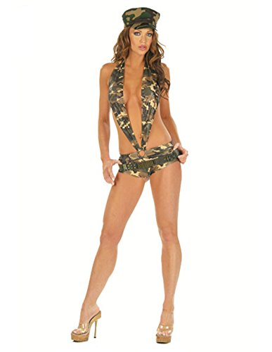 Women's Slinky Cut Out Camouflage Romper Costume