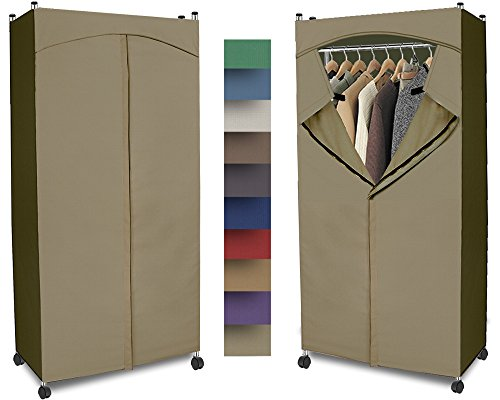Portable Wardrobe Closet w/ Premium Cotton Canvas/Duck Cover (72-75Hx36Wx18D) Khaki by ClarUSA