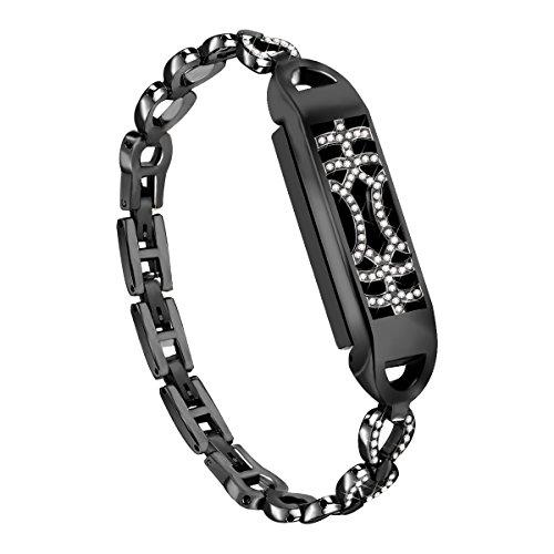 "Compatible Fitbit Flex 2 Bands Bracelet, NaHai Adjustable Replacement Metal Bangle Newest Unique Magnetic Adsorption Switch Design Wristband Diamond Fitbit Flex 2 (Black, Small(5.5"" - 7.6""))"