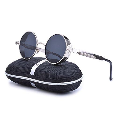 SPLOV Classic Steam Punk Sunglasses Polarized Circular Reflective Eyewear (Silver&Black)