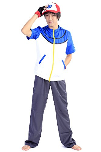 SDWKIT Pokemon Bast Wishes! Cosplay Costume Ash Katchum Satoshi Outfit Set V2 (Rival Destinies Set 2 compare prices)