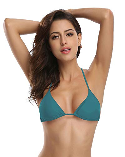 SHEKINI Women's Tie Side Bottom Push up Padded Top Triangle Bikini Bathing Suit (Medium, Valley Green - -