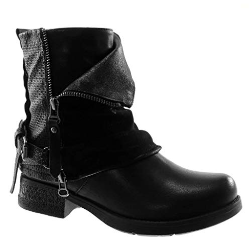 Angkorly - Women's Fashion Shoes Ankle Boots - Booty - Biker - bi Material - Classic - Thong - Braided - Zip Block Heel 3.5 cm Black