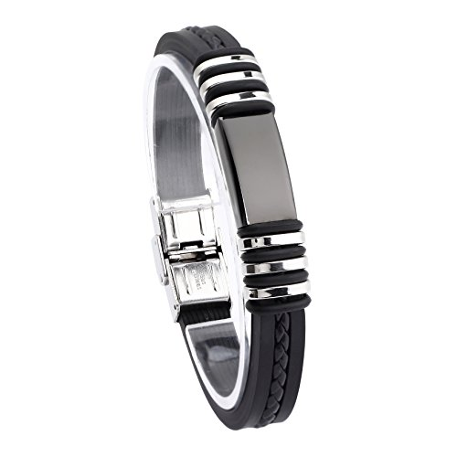 Jusnova Mens Stainless Steel Bracelet Bangle 8.5 Inches Silicone Wristband Black