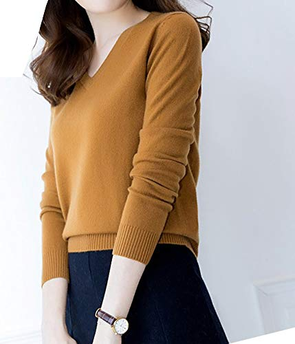 Jaune Femme Cachemire Longue V Manche Pull En F5124 Dissa Col Mince xCp7vHnwq