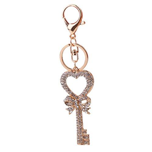 Jili Online Crystal Diamante Heart Key Charm Keyring Key Chain Handbag Pendant Xmas Gift