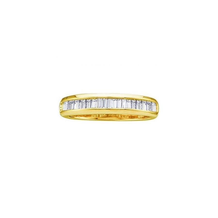 Dazzlingrock Collection 0.25 Carat (ctw) 10K Yellow Gold Baguette White Diamond Ladies Wedding Band Stackable Ring 1/4 CT