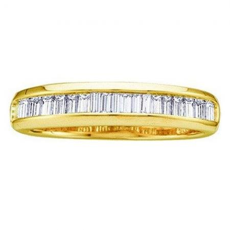DazzlingRock Collection 0.25 Carat (ctw) 10K Yellow Gold Baguette White Diamond Ladies Wedding Band Stackable Ring 1/4 CT