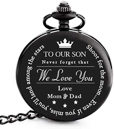 "To My Son | Father, Mother and Son Graduation 2019 Gift - Engraved ""To Our Son Love Mom & Dad"" Pocket Watch - Perfect Gifts for Son from Mom and Dad for Christmas, Valentines Day, Birthday"