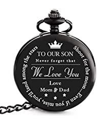 """To My Son   Dad Mom Son Gift - Engraved """"To My Son Love Mom & Dad"""" Pocket Watch - Perfect Gifts for Son from Mother & Father for Christmas, Valentines Day, Birthday"""