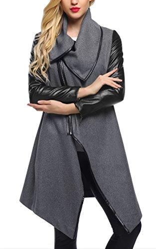 CRAVOG Chaqueta Larga para Mujer Elegante Patchwork Mezcla Lana Abrigo Coat Cazadora Gris