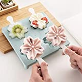 Salaks Beautiful Silicone Ice Cream Mold with Lid Popsicle MoldIce Cube Trays Silicone Cute Pattern Ice Cube Maker Ice Tray Ice Cube Mold Storage Containers Reusable (A)