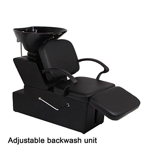 AECOJOY Adjustable Salon Backwash Chair Spa Shampoo Bowl Barber Sink Equipment Black by AECOJOY